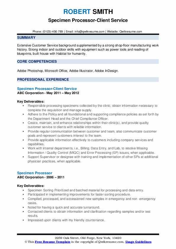 Specimen Processor-Client Service Resume Template
