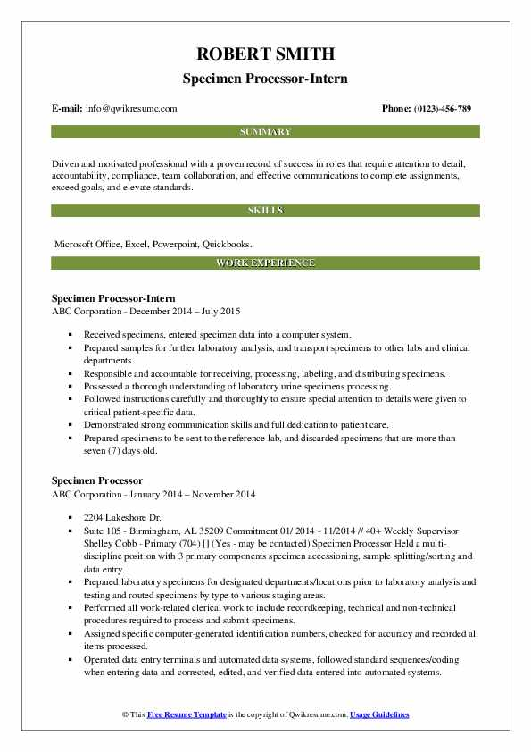 Specimen Processor-Intern Resume Template