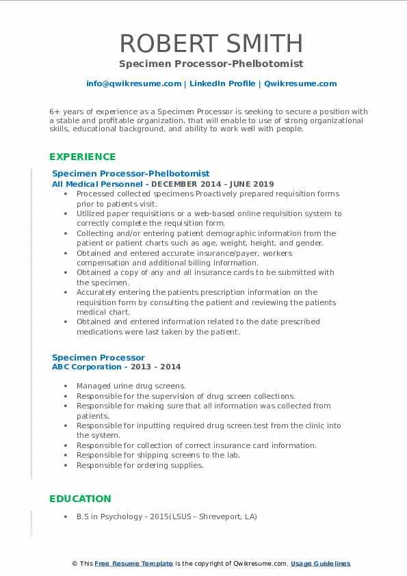 Specimen Processor-Phelbotomist Resume Example