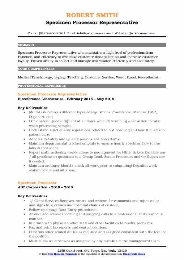 Specimen Processor Representative Resume Template