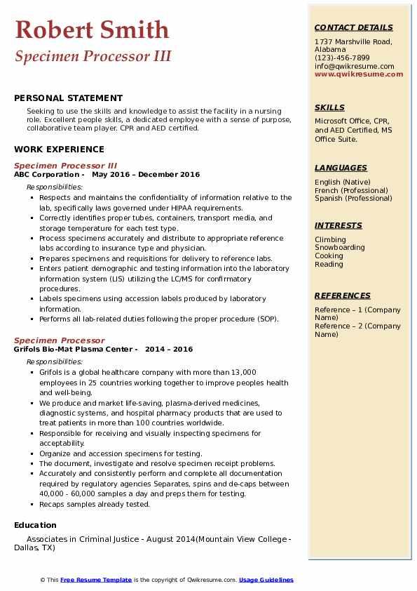 specimen processor resume samples