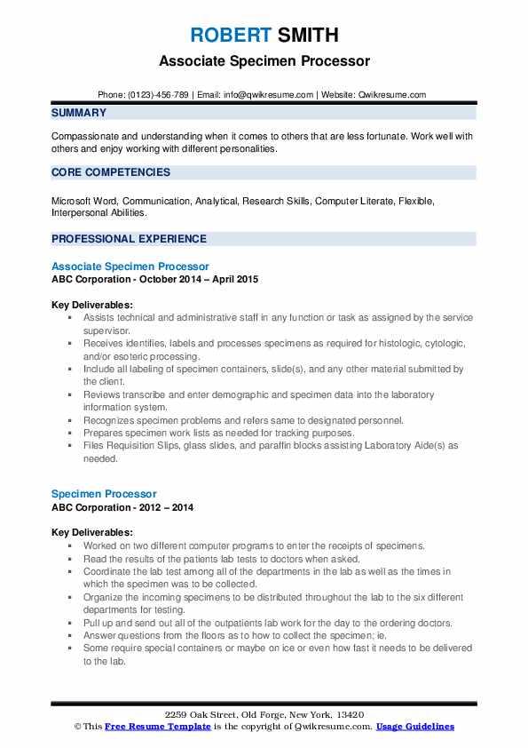 Associate Specimen Processor Resume Sample