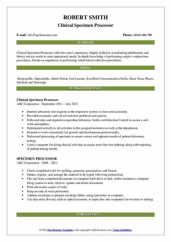 Clinical Specimen Processor Resume Example