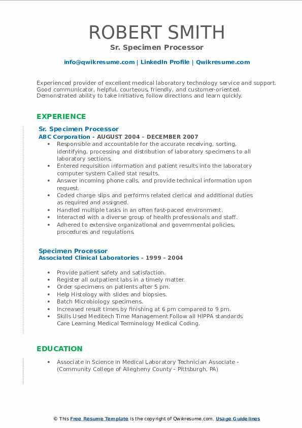 Sr. Specimen Processor Resume Example