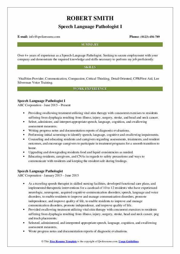 Speech Language Pathologist I Resume Template