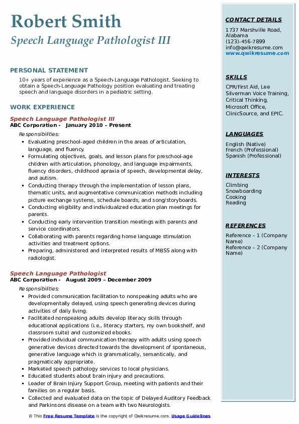 Speech Language Pathologist III Resume Format