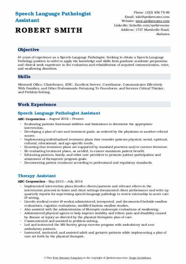 Speech Language Pathologist Assistant Resume Sample