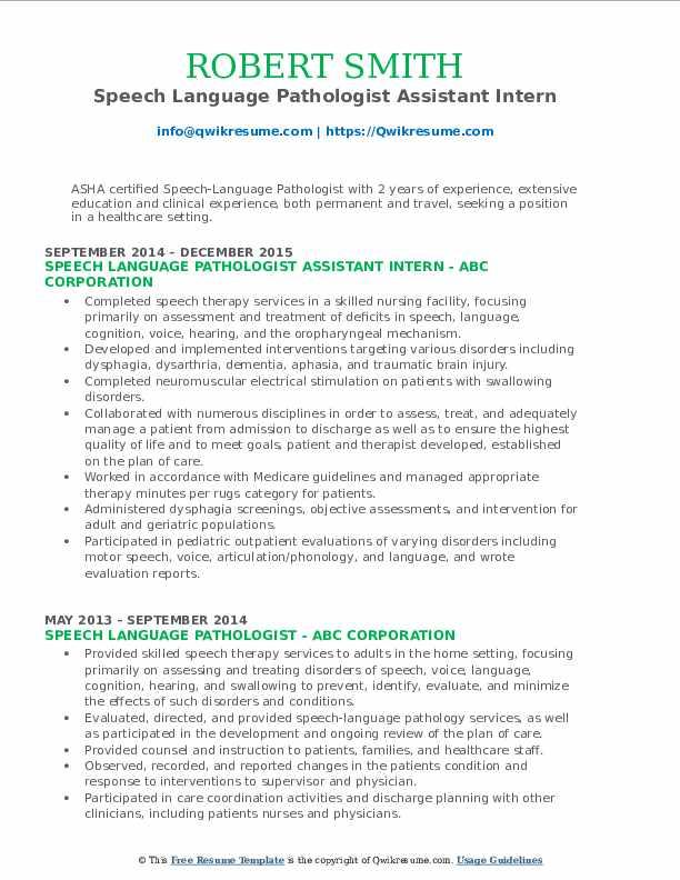 Speech Language Pathologist Assistant Intern Resume Format
