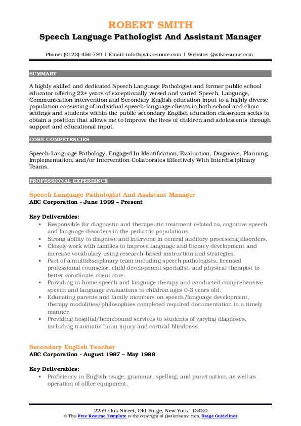 Speech Language Pathologist And Assistant Manager Resume Model