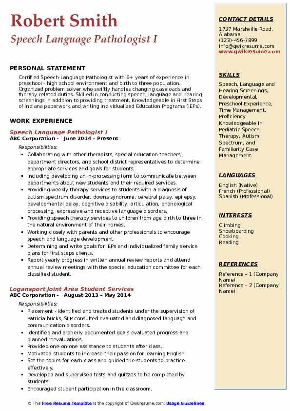 Speech Language Pathologist I Resume Model