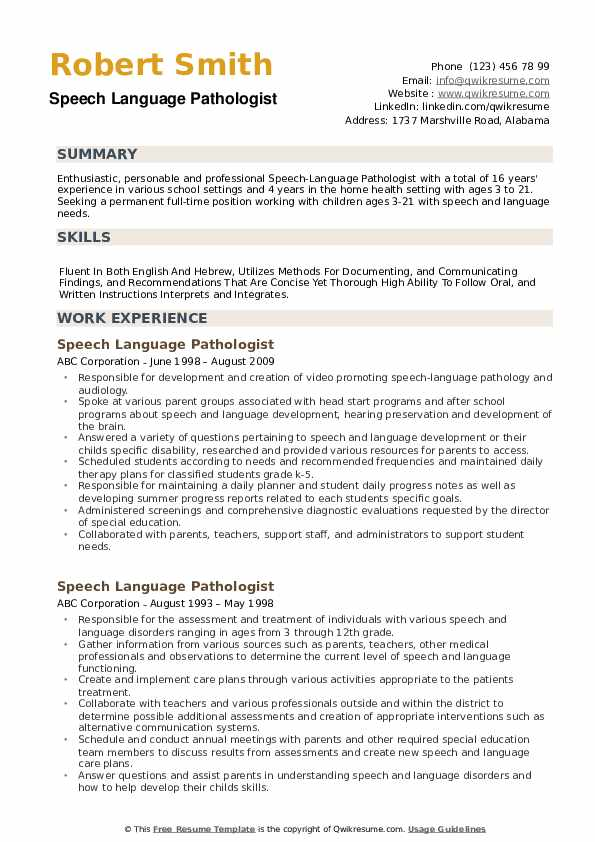 Speech Language Pathologist Resume example