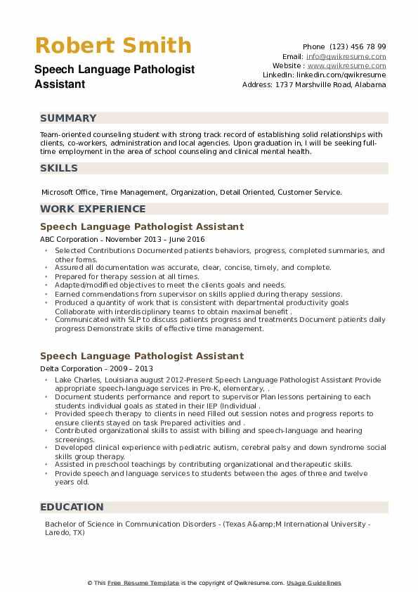 Speech Language Pathologist Assistant Resume example