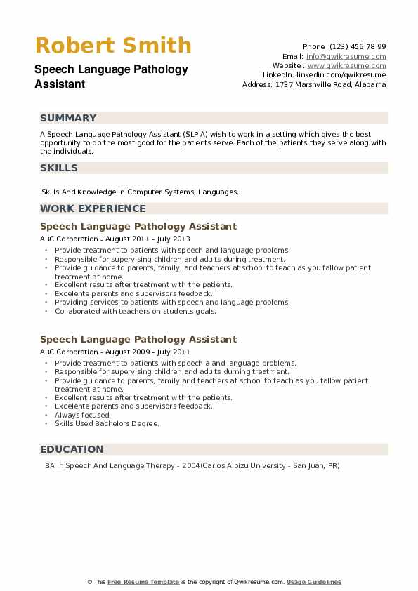Speech Language Pathology Assistant Resume example