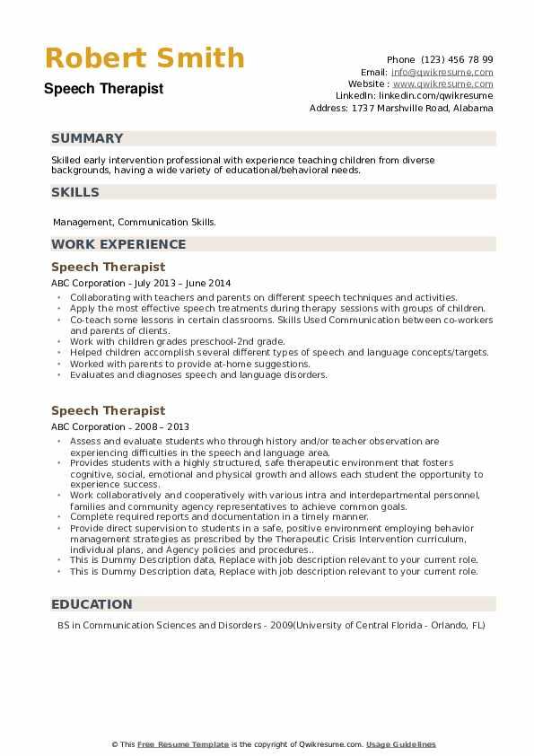 Speech Therapist Resume example