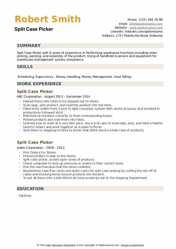 Split Case Picker Resume example