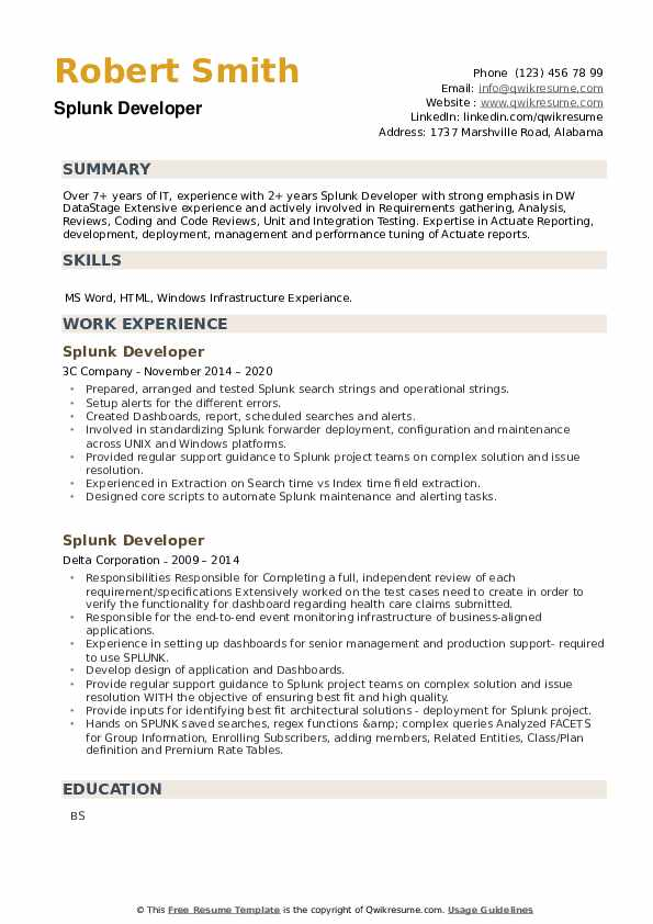 Splunk Developer Resume example
