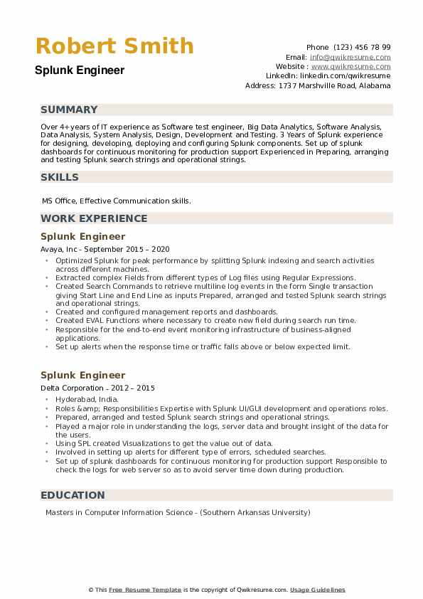 Splunk Engineer Resume example
