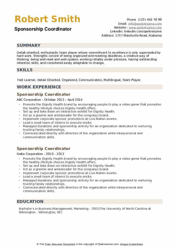 Sponsorship Coordinator Resume example