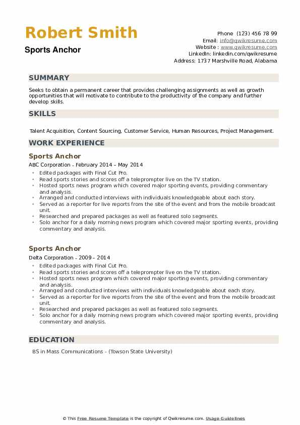 Sports Anchor Resume example