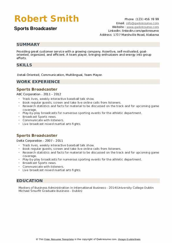 Sports Broadcaster Resume example