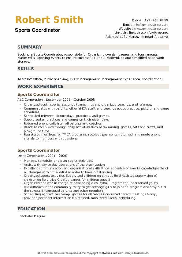 Sports Coordinator Resume example