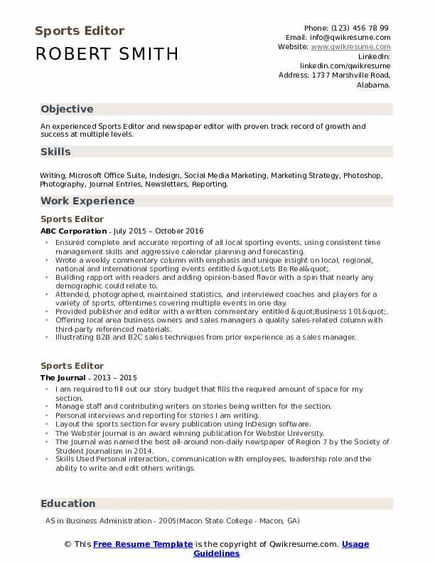 Sports Editor Resume Format