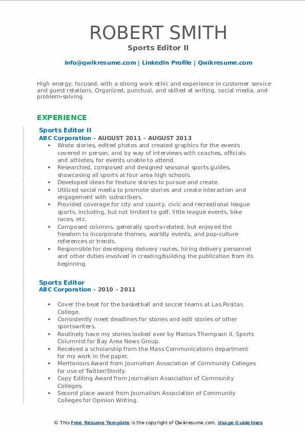 Sports Editor II Resume Sample
