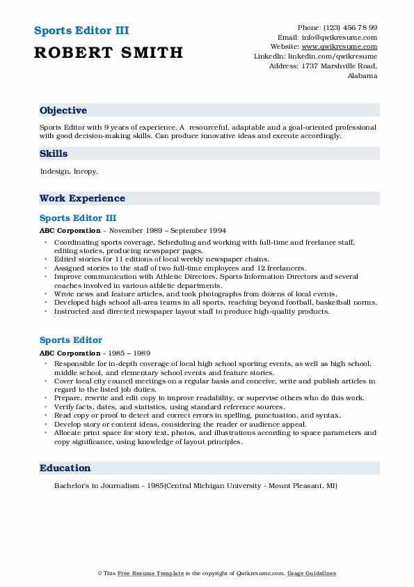 Sports Editor III Resume Format