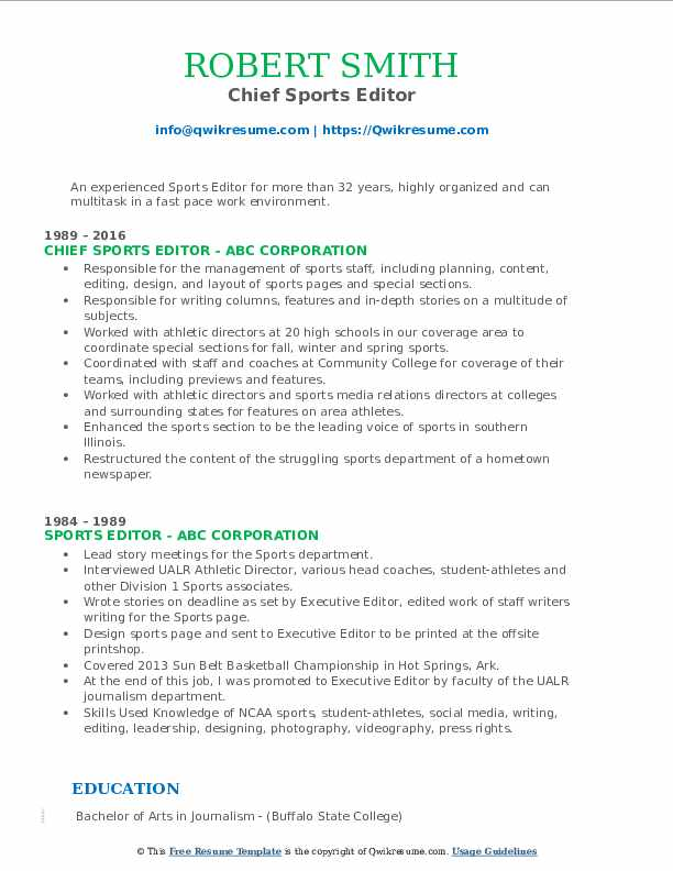 Chief Sports Editor Resume Example