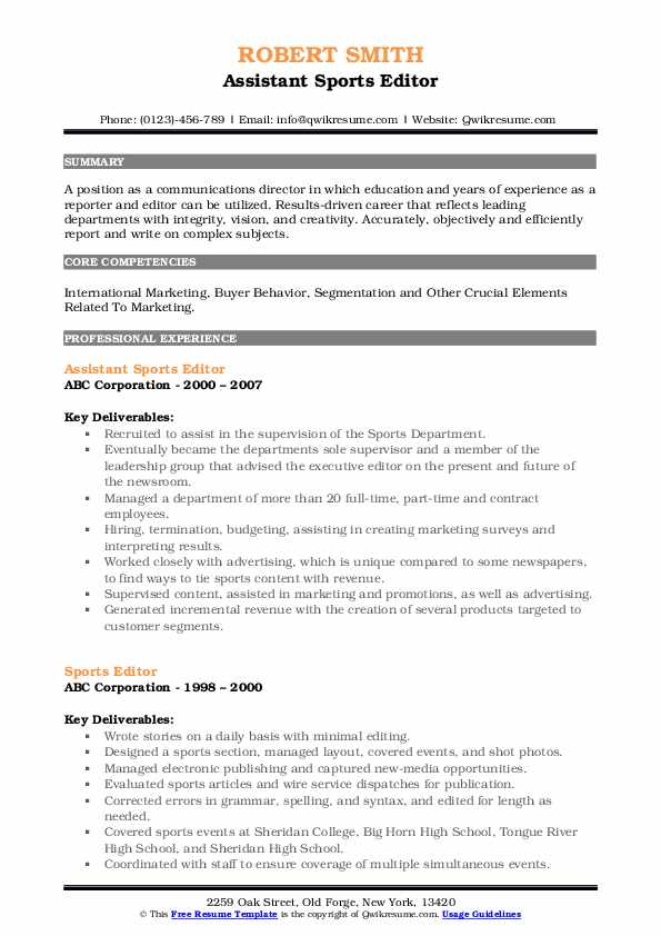 Assistant Sports Editor Resume Template