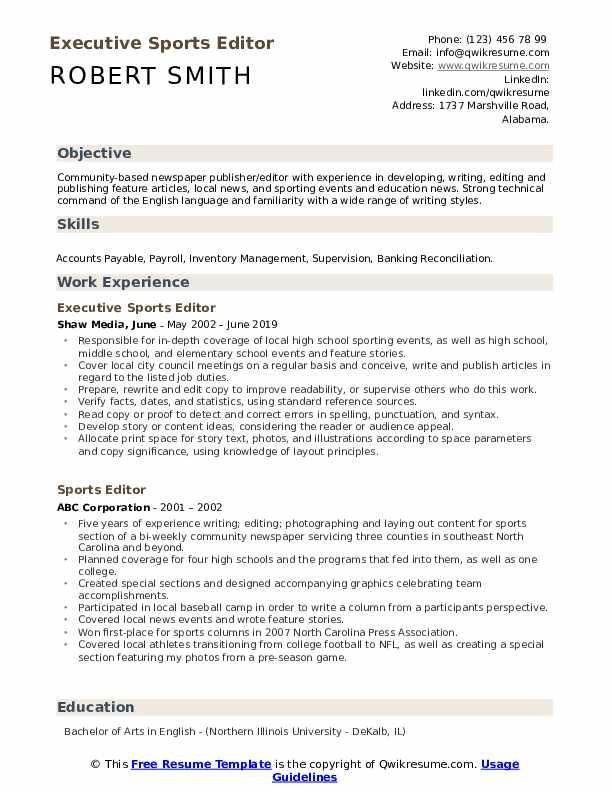 Executive Sports Editor Resume Format