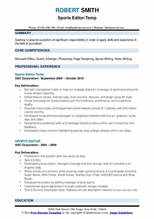 Sports Editor-Temp Resume Model