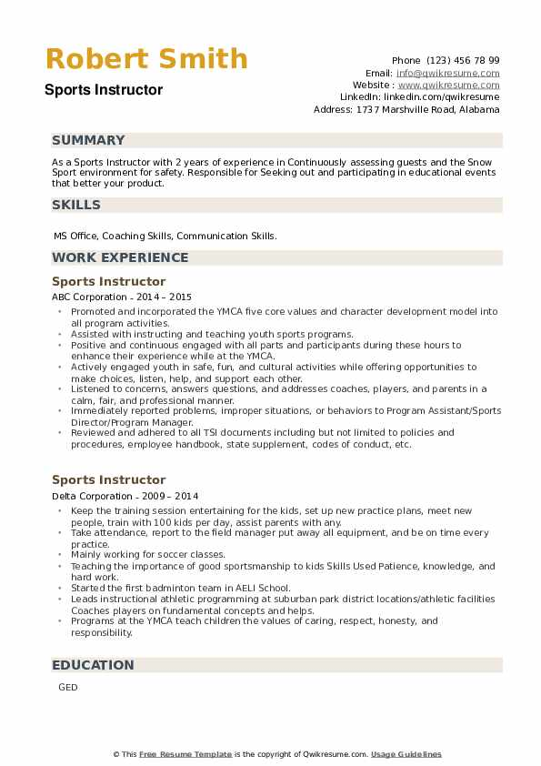 Sports Instructor Resume example