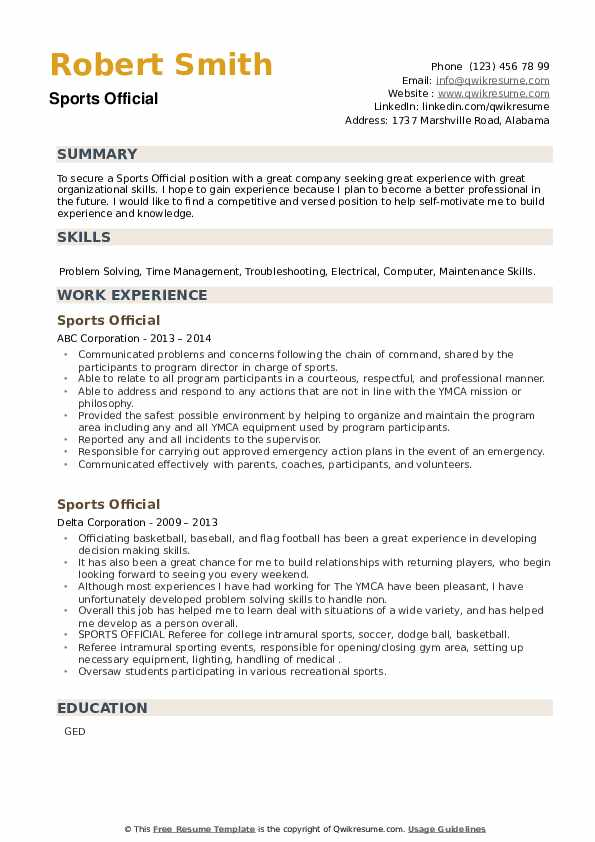 Sports Official Resume example