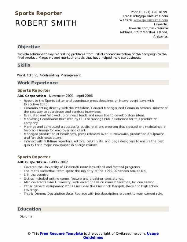 Sports reporter resume sample english homework key stage 2