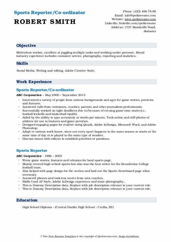 Sports reporter resume sample free online resume advice