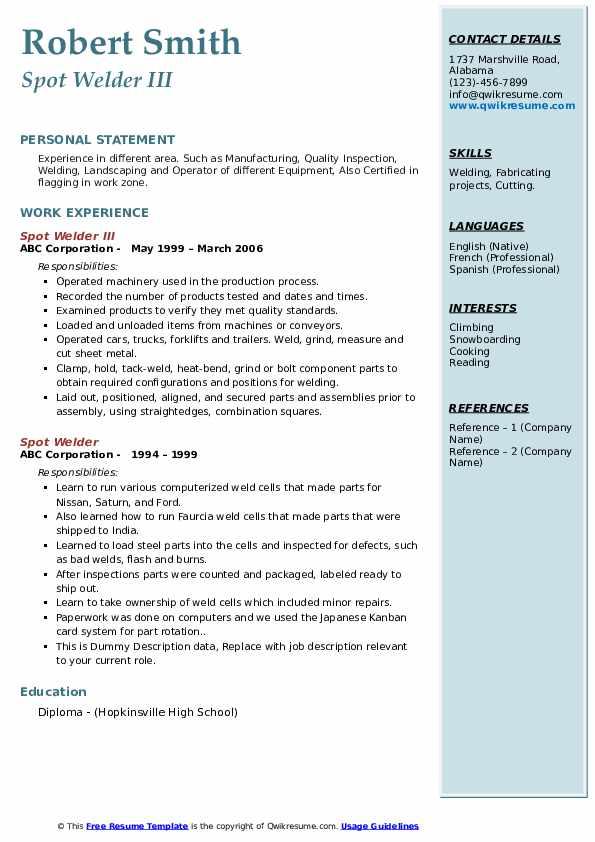 spot welder resume samples