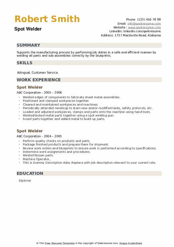 Spot Welder Resume example