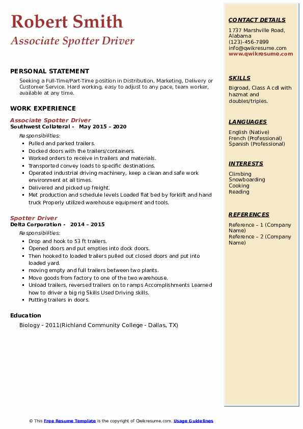 Spotter Driver Resume example