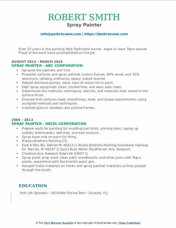 Spray Painter Resume example