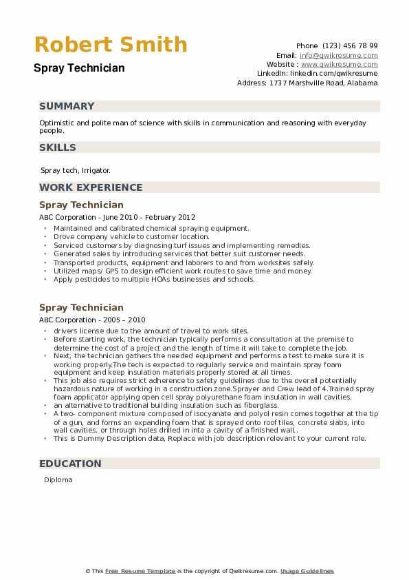 Spray Technician Resume example