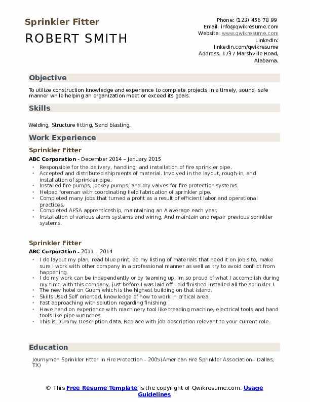 Sprinkler Fitter Resume example