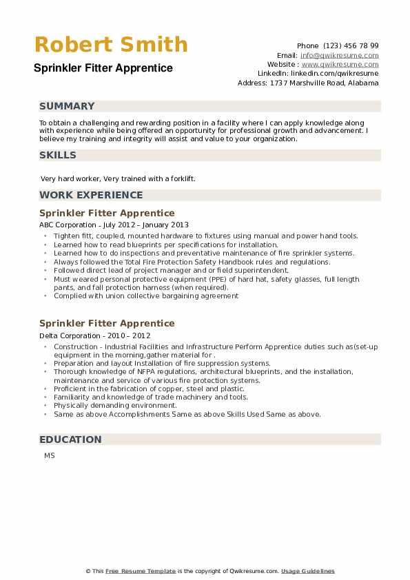 Sprinkler Fitter Apprentice Resume example