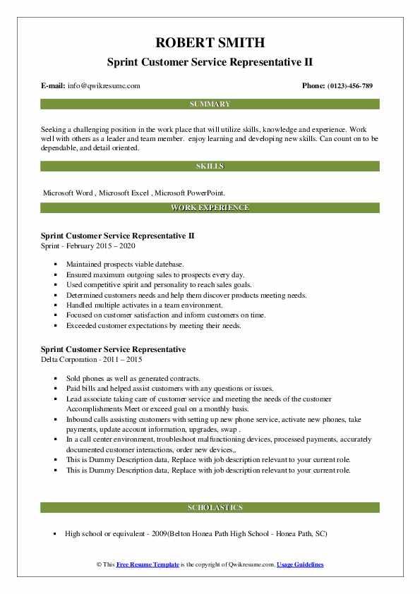 Sprint Customer Service Representative Resume Samples Qwikresume