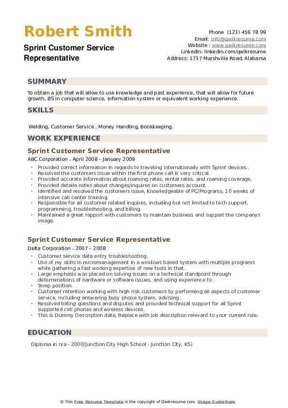 Sprint Customer Service Representative Resume example