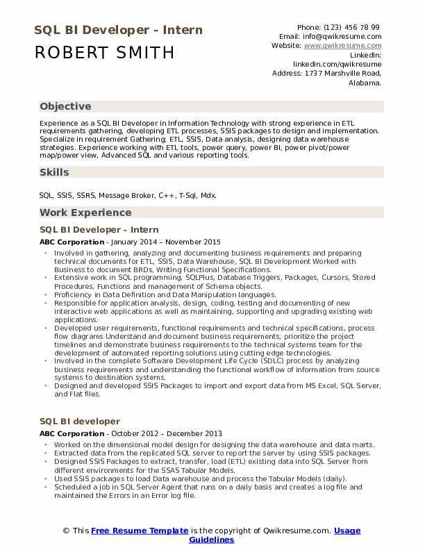 sql bi developer resume samples  qwikresume