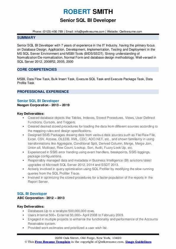 sql bi developer resume samples