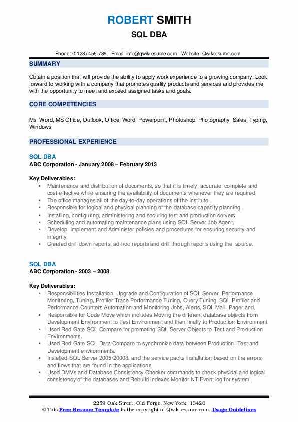 SQL DBA Resume example