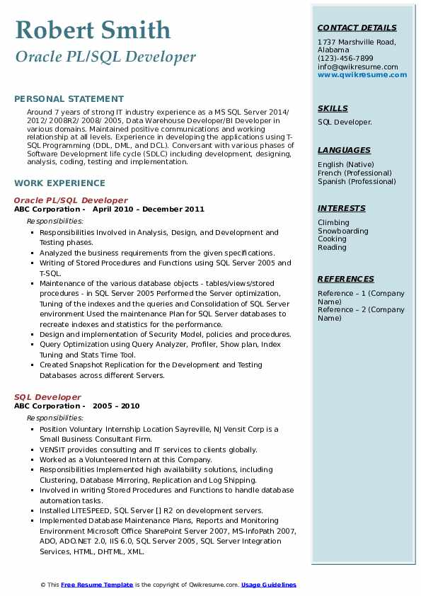 Oracle PL/SQL Developer Resume Template