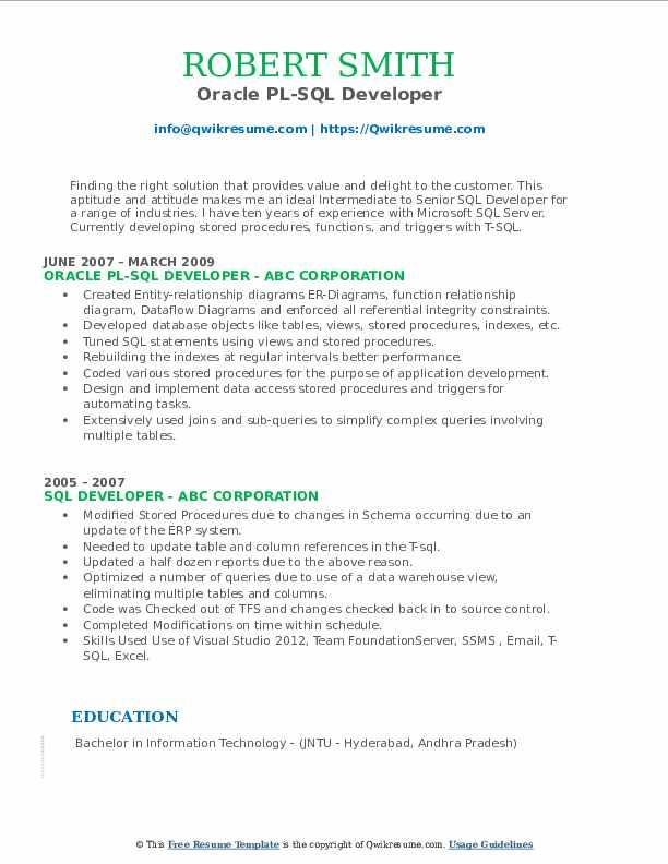 Oracle PL-SQL Developer Resume Model